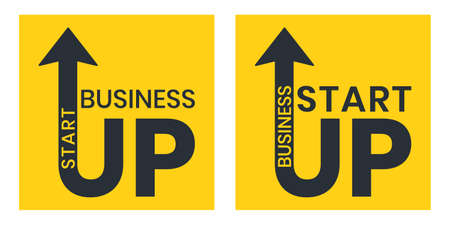 Modern Start Up vector typography , corporate business  design template in yellow square Ilustracja