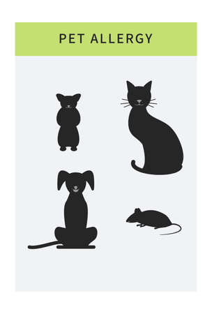 Pet allergy vector icons set, allergy to animal hair, isolated cartoon allergen symbols like cat, dog, mouse. Banner template with copy space
