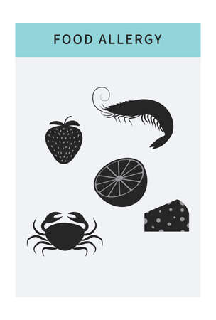 Food allergy icons set. Cartoon isolated food allergen products like fish, cheese and fruit. Allergy risk factor banner, infographic template with copy space