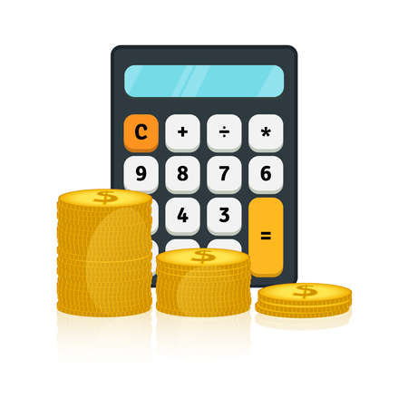 Vector illustration of calculator and gold dollar coins. Fees and funding, money saving, return on investment, making money, mutual fund, budget planning, tax and accounting concept. Finance icons Ilustracja