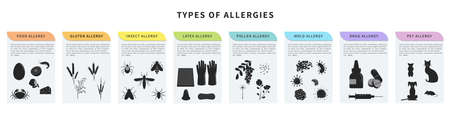 Types of allergy vector illustration. Animal hair, latex, drugs, insect, food, gluten, pollen allergy. Banner template with different allergens. Design concept for infographic