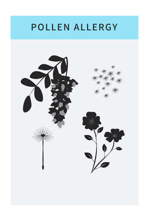 Pollen allergy vector icons set with spring flowers. Seasonal allergy. Infographic concept. Banner template with copy space