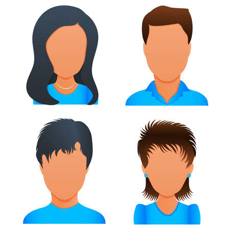 People avatar profile picture set vector, diverse business men and women user icons. Flat design cartoon people characters Ilustracja
