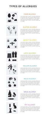 Allergy types infographic set. Information poster with text and different allergens like pollen, gluten, food, animal hair, latex, drugs, insect. Flat vector illustration.