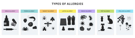 Allergy types concept for infographic. Food, animal hair, latex, drugs, insect, pollen allergy. Poster, banner template with different allergens