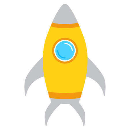 Vector rocket icon concept, launch startup business, creative idea, project start up. Flat design with yellow rocket isolated on white background