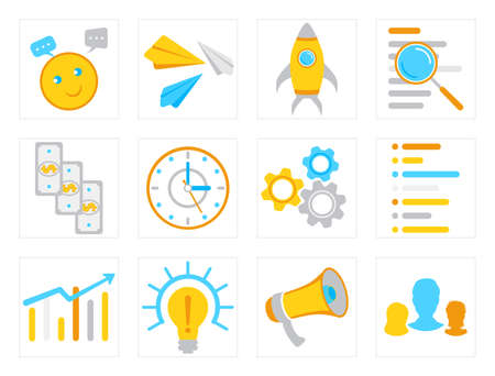 Vector set of flat business icons for seo, business, management, finance, social media marketing, document search and live chat