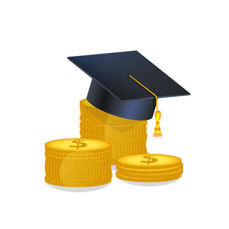 Education, scholarship money, investment in knowledge, student loans, study cost or fee concept. Vector illustration in flat style