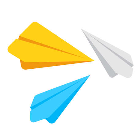 Vector illustration of simple paper plane icon in four different colors, airplane symbol isolated on a white background, paper airplane in flat style for web site design, mobile app