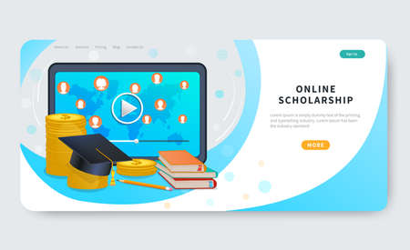 Online scholarship concept for website and landing page template. Tablet, graduation hat on stack of coins and books. Distance education loan, investment in knowledge, study cost or fee. Flat vector