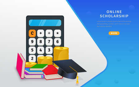 Online learning courses, education and scholarship concept web banner, with calculator, graduation hat on stack of coins and books. Flat vector illustration for education loan, investment in knowledge