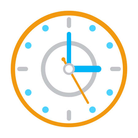 Vector clock icon concept. Simple watch, clock time symbol in trendy flat style. Design for your web site design,  app. Ilustrace