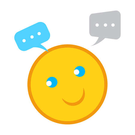 Speech bubble chat icon with emoji smile vector illustration, talk, communication concept, live chat, feedback symbol in flat design style Ilustracja