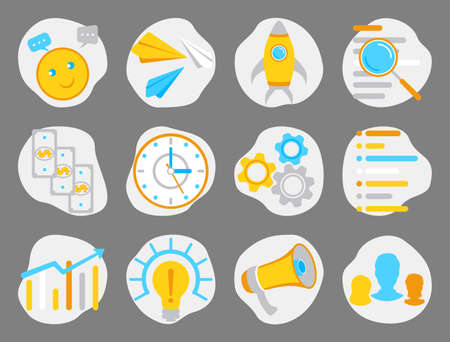 Flat business icons vector set. Icons for web design, mobile app, seo, business, management, finance, social media marketing and live chat