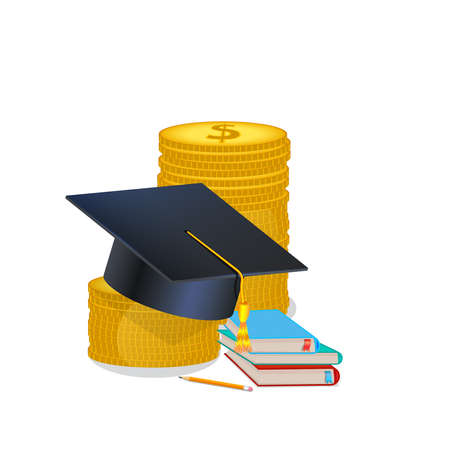 Scholarship concept, education loan, investment in knowledge. Books, graduation hat and stack of coins. Money savings, study cost or fee. Vector illustration in flat style. Ilustracja