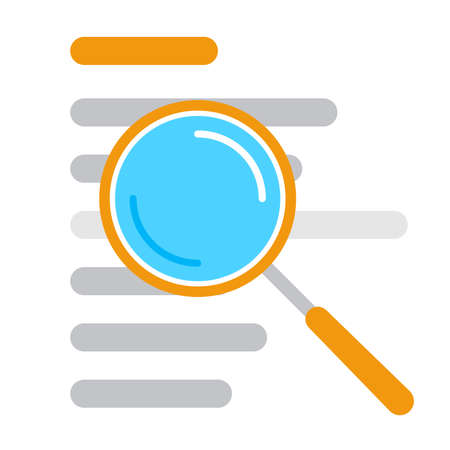 Vector illustration of document search icon isolated on white background, file search with magnifying glass, scrutiny document plan business concept. Ilustracja