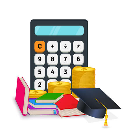 Vector illustration of investment in education. Scholarship. Online learning courses, certificate. Calculator, graduation hat, stack of coins and books. Money savings for education loan. Clip art