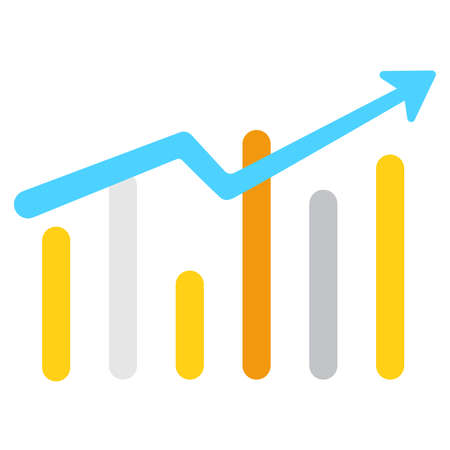 Vector growing graph icon in flat style. Statistics, growth chart bar symbol for your web site,  mobile app.