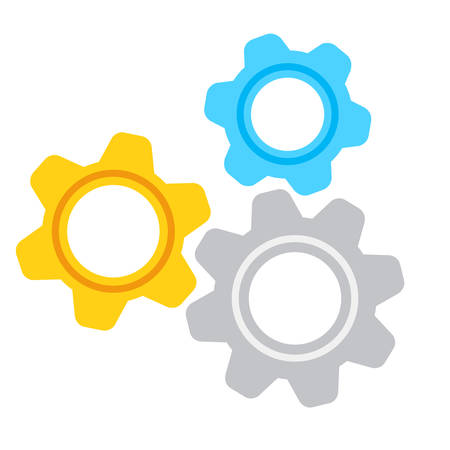Gear settings icon on white background. Cog wheels icon. Simple flat gear mechanism symbol. Vector illustration