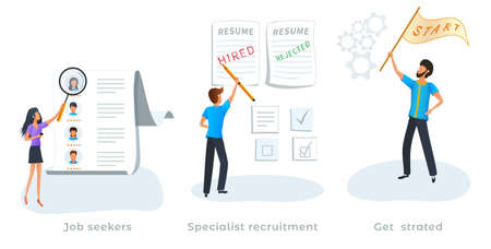 Metaphor concept of job searching. Specialist recruitment. Employment service. Job seekers. Employment process, reviewing resume, hiring new employee, choosing a candidate. Startup business.