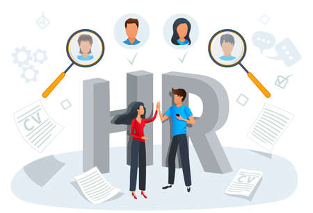 Vector illustration concept of human resources, recruitment. Employment process, choosing a candidate to hire. Headhunting company, recruitment agency. HR management and hiring, CV, job search