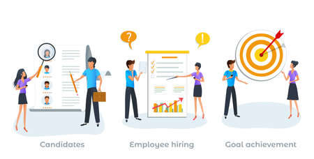 Metaphor concept of recruitment process, employment service. Human resources. Searching job. Employees hiring. Send your CV to employers. HR agency choosing a candidate to hire. Goal achievement.