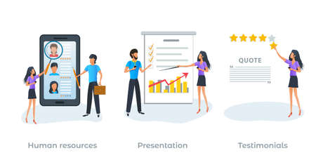 Concept of human resources, recruitment agency and employment process. Searching job. Customer feedback, client review, online service rating or testimonials. Presentation. Flat vector illustration