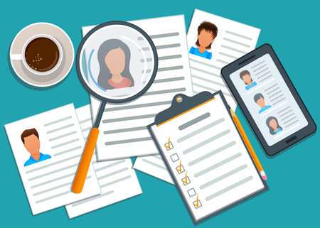 Concept of recruitment, manager searching candidate for hiring. Mobile app with list of job applicants. Application form for employment. Recruitment process. Headhunting agency. Flat design Ilustracja