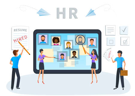 Flat design concept of recruitment service for website and mobile app. Human resources management. Business recruiting, recruitment agency, HR job presentation. Employees hiring. Apply for jobs. Ilustracja
