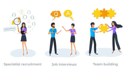 Job interview. Specialist recruitment. Employment service, recruitment process, recruiter searching for candidate to hire. Human resources. New business startup. Team building or teamwork concept.
