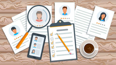 Concept of recruitment process. Job search. Human resources management. Employment service. Recruitment agency searching candidate for hiring. Mobile app with list of job applicants
