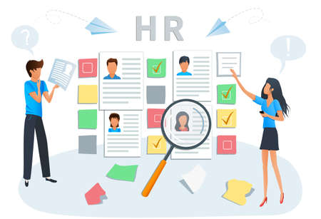 Vector illustration concept of human resources, hiring and recruitment. Business recruiting. Recruiters and managers searching for candidate CV to hire. Employment service, recruitment agency