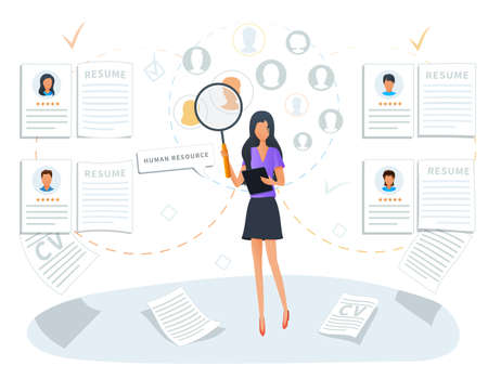 Concept of human resources and recruitment service. Employment process. Recruiter searching for candidate CV to hire. Headhunting company. HR management and job hiring, staffing or recruitment agency