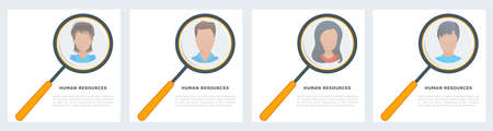 Vector concept of human resources, online recruitment for web page, banners, social media and presentation. Searching for candidate to hire. Job interview, recruitment agency. Looking for talent