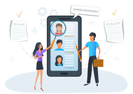 Concept online recruitment service. HR Managers and Recruiters searching for candidate to hire. Recruitment process through mobile app. Human Resources Management. Job hiring. Flat Vector Ilustracja