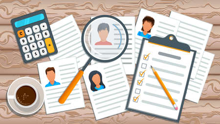 Concept of recruitment service. Human resources management. Job search. Employment process. Recruitment agency searching cv and profile of employee candidate for hiring. Business recruiting.