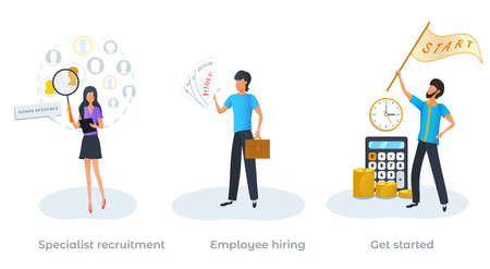 Concept of job interview. Specialist recruitment. Employee hiring. Employment service, recruitment process, recruiter searching for candidate to hire. Human resources management. New business startup Ilustracja