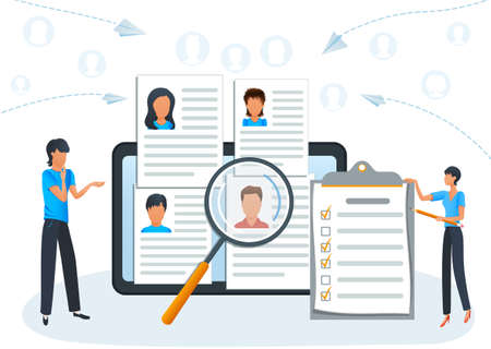Concept online recruitment, employment service. HR agency. Employees hiring. Headhunting company. Human resources management. Job interview, employment process, choosing a candidate to hire Ilustracja