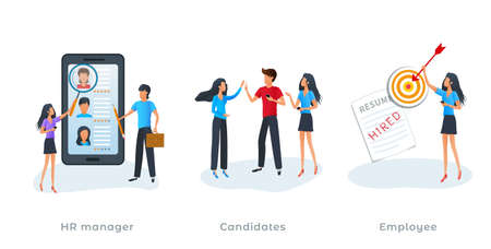 Metaphor concept of human resources management and employment process. Headhunting agency, hiring new employee. Job interview, choosing a candidate, employment agency, recruitment service. Flat design Ilustracja