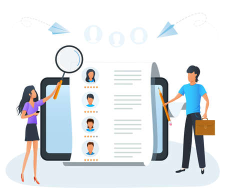 Concept of human resources, employee hiring, recruitment agency, employment service. Recruiter searching for candidate to hire in a list of job applicants. Business recruiting, online recruitment