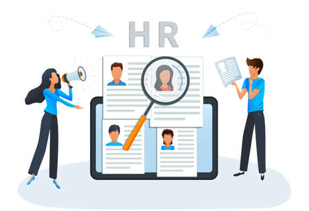 Concept Human Resources, recruitment and headhunting agency. Employment service website. Vector illustration HR, hiring, CV, job search, interview, employment process, looking for talent