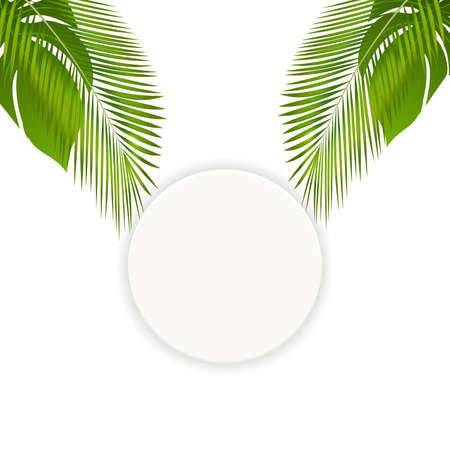 Trendy summer tropical palm leaves round frame. Banner, poster with tropical leaves with place for your text. Hawaiian party invitation.