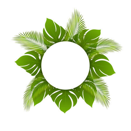 Beautiful vector trendy summer tropical leaves, round frame. Banner with green tropical forest palm leaves background template. Can be used for cosmetics and spa Ilustracja