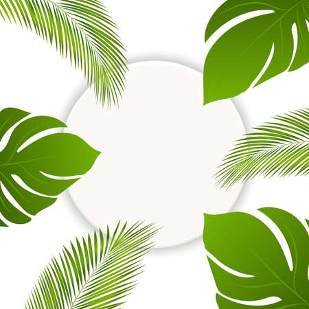 Vector summer tropical leaves round banner with place for text. Exotic botanical design. Wedding invitation frame or card template with exotic palm tree leaves
