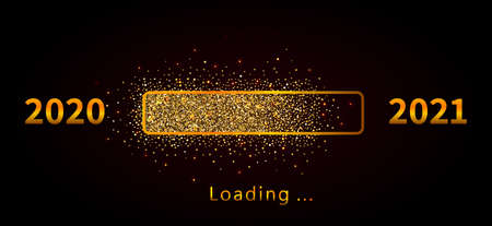 New year 2021 loading progress bar with golden glitter confetti isolated on black background. Holiday banner, poster, greeting card or invitation template. Vector New Year illustration Ilustracja