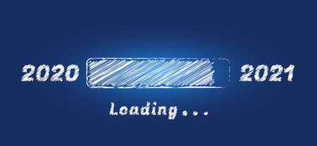 New Year loading bar 2021 chalk texture on blue blackboard in sketch style. Happy New Year greeting card with progress bar. Holiday banner, poster, greeting card or invitation template.