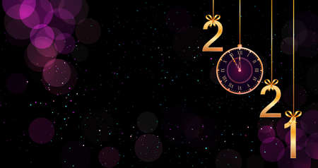 Happy New Year 2021 text design with hanging golden numbers on bokeh purple background with pattern. Design element for New Year or Merry Christmas greeting card, holiday banner, poster, flyer.