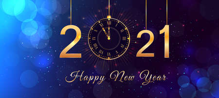Happy New Year 2021 blue background with bokeh effect, hanging golden numbers, gold vintage clock and lights. Magic holiday banner, poster or greeting card with happy new year text.