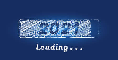 2021 New Year concept with white sketch loading progress bar isolated on a blue background. Design for holiday banner, poster, greeting card or invitation template. Vector illustration for new year Ilustrace