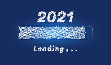 Happy New year 2021 doodle loading progress bar isolated on blue winter background. Holiday banner, poster, greeting card or invitation template. Vector illustration for new year's eve.